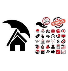 Home under umbrella flat icon with bonus vector