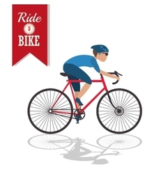 Isolated man riding bike design vector