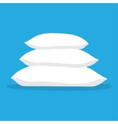 Three white pillows vector