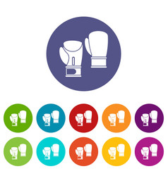 boxing gloves set icons vector image