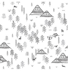 Seamless pattern with forest mountains and camping vector