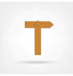 Wooden boards letter t vector