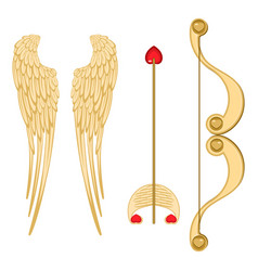 Angel wings retro cupid bow and arrow with heart vector