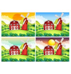 Scene with barn and windmill at day and night vector