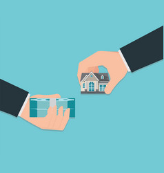 Human hand holding right house and money isolated vector