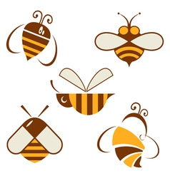 Set of signs bee vector