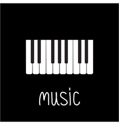 Piano keys and white word music card vector