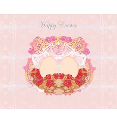 Easter egg on floral grunge background vector