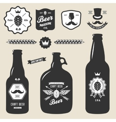 Set of vintage craft beer bottles brewery badges vector