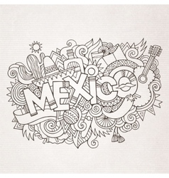 Mexico country hand lettering and doodles elements vector
