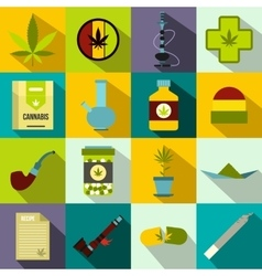 Marijuana icons set flat style vector