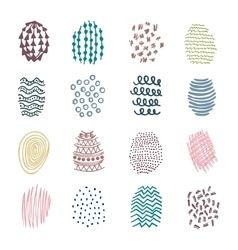 Set of 16 colorful hatching hand drawn vector