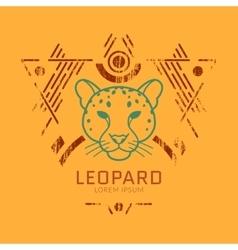 Leopard head logo in frame vector