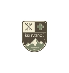 Ski patrol label vintage mountain winter camp vector