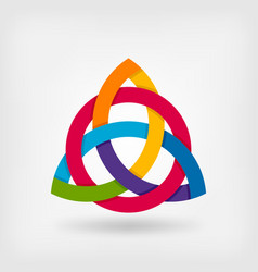 abstract symbol triquetra in rainbow colors vector image vector image