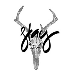 Animal skull with hand drawn lettering vector