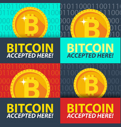 Bitcoin accepted here sticker vector