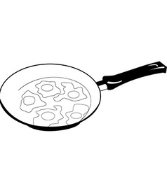 black and white fried eggs on frying pan vector image vector image