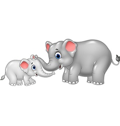 Cartoon mother and baby elephant vector