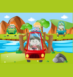 Children driving car across the bridge vector