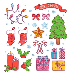 Christmas symbols collection vector image vector image