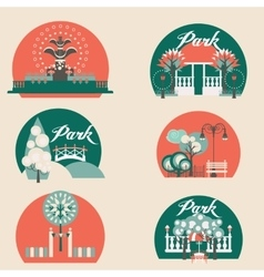 City Park Landscape Elements Set vector image