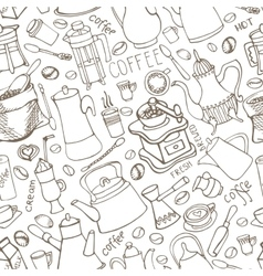 Coffee related doodle seamless patterntableware vector