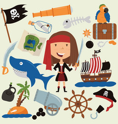 Cute beauty pirate girl and various objects vector