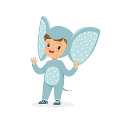 Cute happy boy dressed as an elephant kids vector