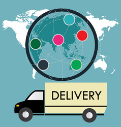 Delivery truck on a background map of the world vector