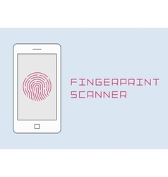 Fingerprint scanning on smartphone flat vector image