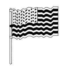 flag united states of america waving in flagpole vector image