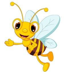 funny bee cartoon waving vector image vector image