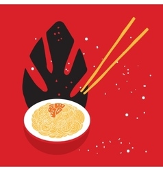 Hand drawn noodles bowl with chopsticks colorful vector