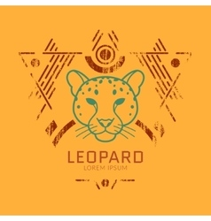 Leopard head logo in frame vector