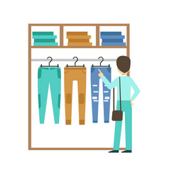 Man shopping for clothes at clothing store vector