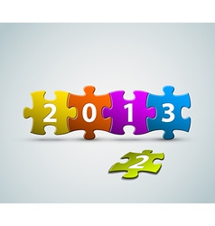 New Year 2013 card made from colorful puzzle vector image vector image