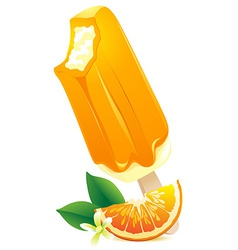 Orange ice-cream with citrus slice summer flavor vector