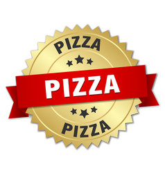 Pizza 3d gold badge with red ribbon vector