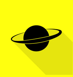 Planet in space sign black icon with flat style vector