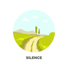 Road in field landscape icon for travel vector