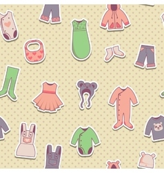 Seamless pattern with baby cloth icons vector image