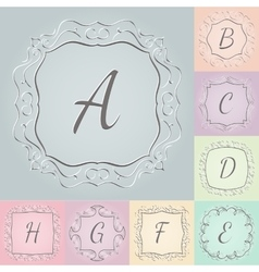 Set of 3d monograms hand drawn style colorful with vector image vector image