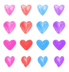 Set of watercolor hearts vector image vector image