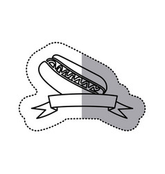 Sticker black contour of hot dog with sauce and vector