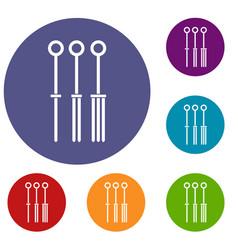 Tattoo needles icons set vector
