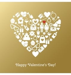 Valentines day greeting card on gold background vector