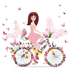 woman bike vector image vector image