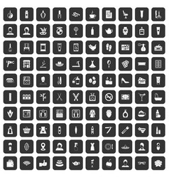 100 beauty salon icons set black vector