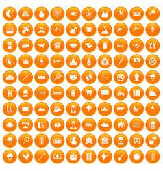 100 cow icons set orange vector